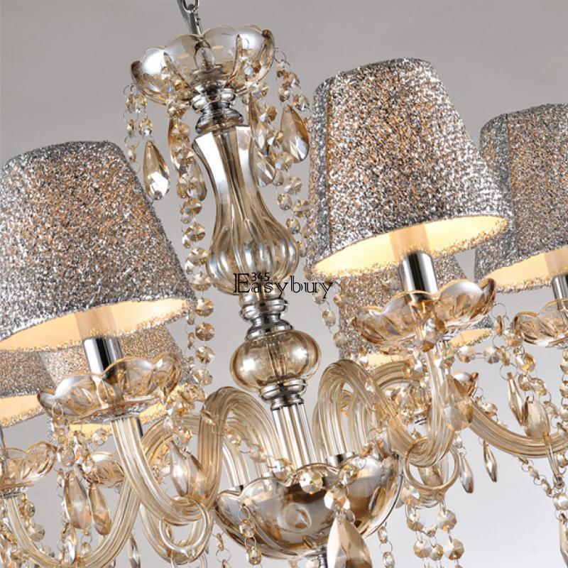 Fan Chandelier: Modern Crystal Ceiling Lighting Chandelier 6 Light Lamp