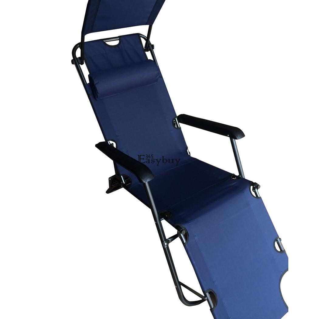Blue Folding Lounge Chair Recliner Zero Gravity Outdoor Garden Beach Patio