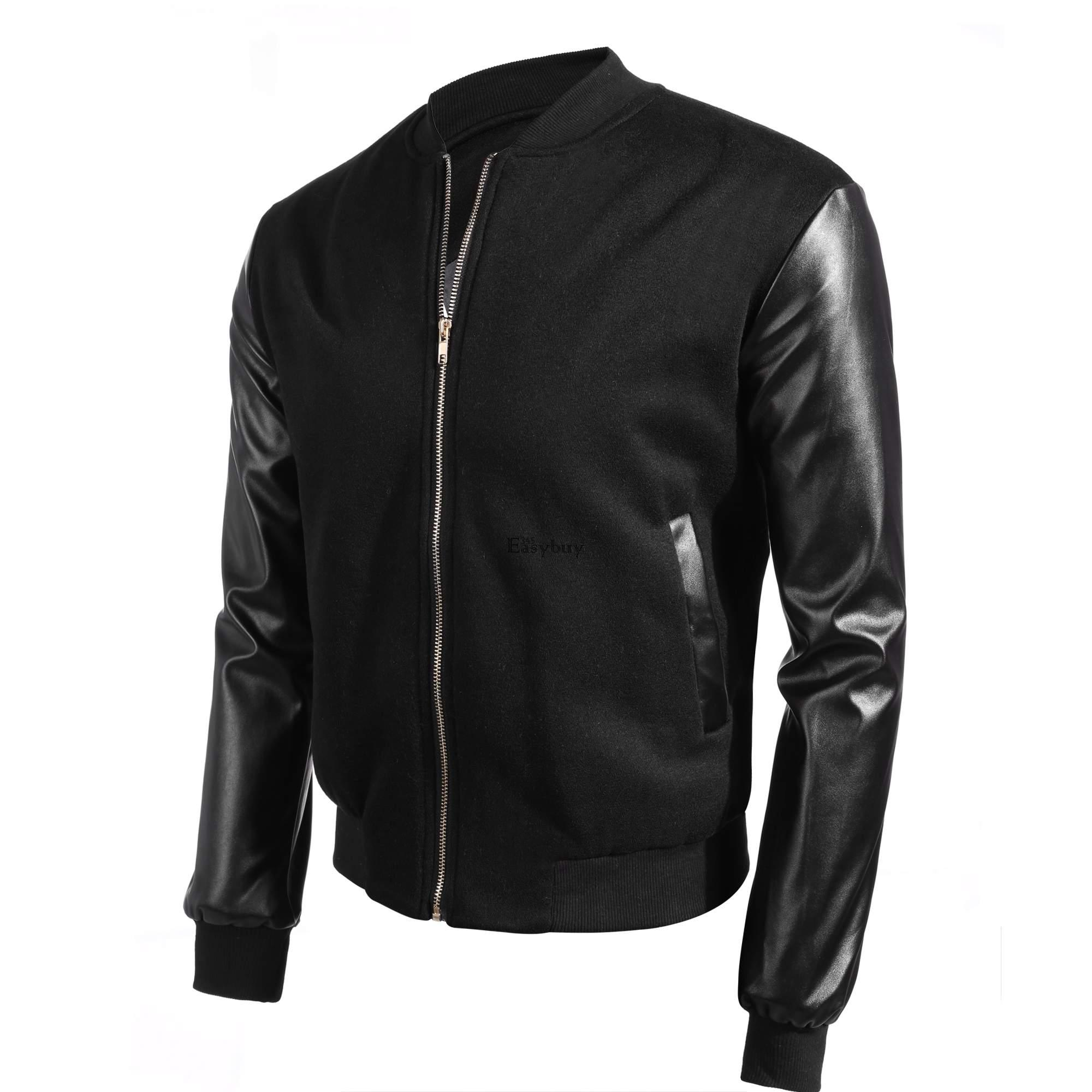 Mens leather casual sport varsity letterman college for Sport coat with t shirt
