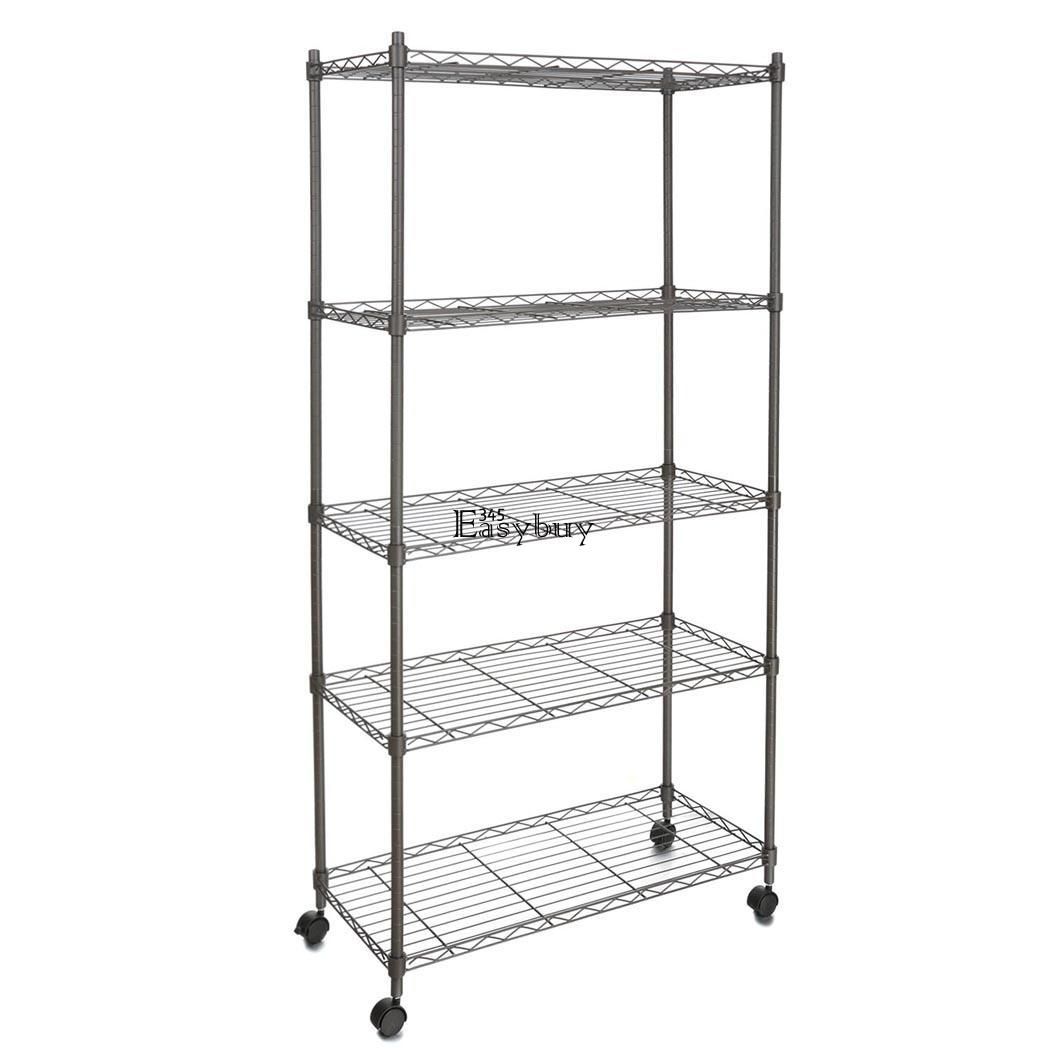 adjustable 5 tier wire shelving rack shelves with wheels. Black Bedroom Furniture Sets. Home Design Ideas