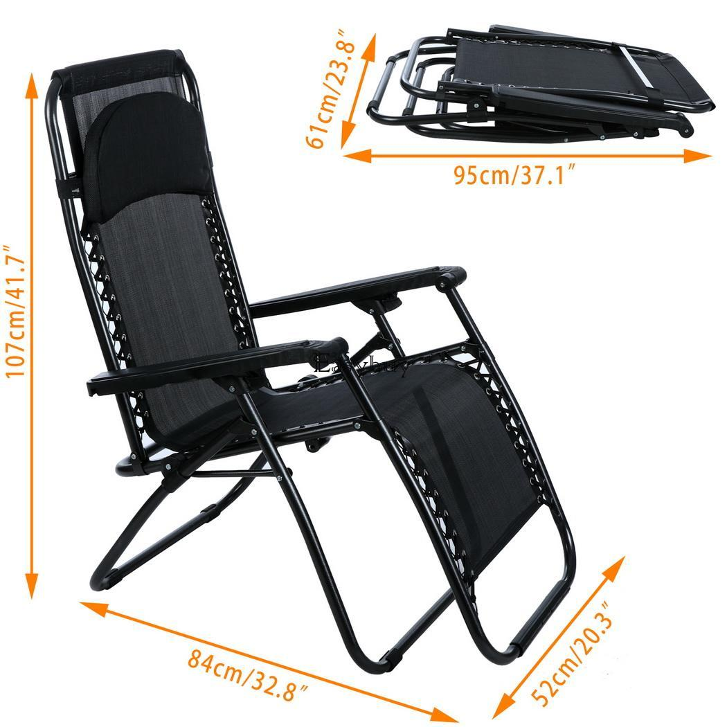 2PCS Folding Adjustable Oversized Zero Gravity Outdoor Lounge Chair Yar EY6E