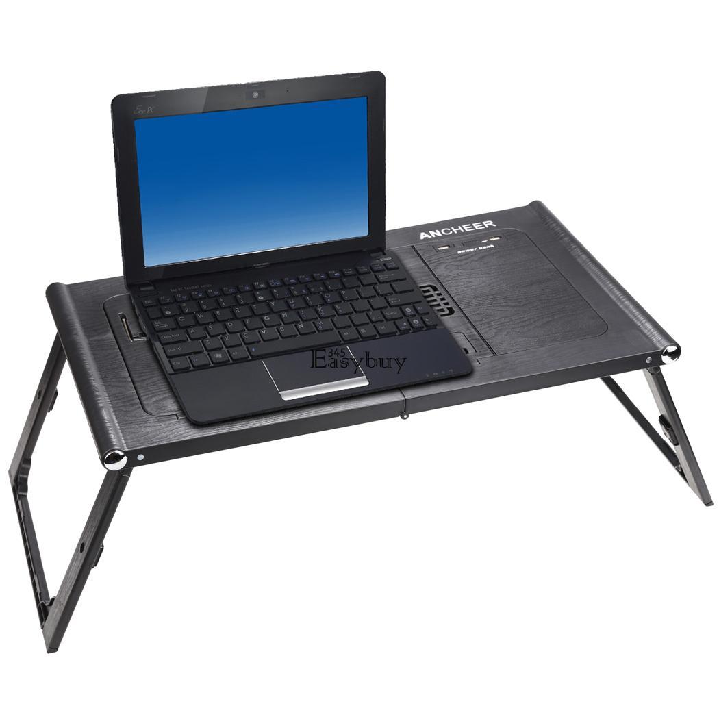 Adjustable Foldable Laptop Notebook Desk Table W Fans